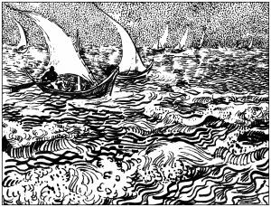 coloring-adult-van-gogh-marine-aux-saintes-marie-de-la-mer-1888 free to print
