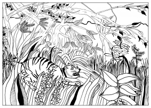 coloring-page-adult-Coloring-Douanier-by-valentin free to print