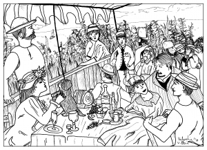 coloring-page-adult-Coloring-inspired-le-dejeuner-des-canotiers-renoir-by-valentin free to print