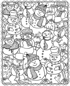 coloring-adult-christmas-snowman free to print