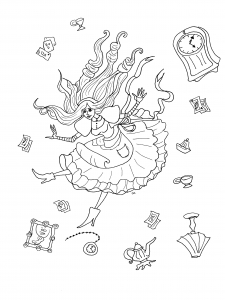 coloring-alice-in-wonderland-with-objects-by-olivier free to print