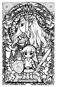 coloring-legend-of-zelda-stainglass-style free to print