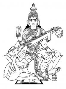 coloring-adult-india-saraswati-3 free to print