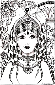coloring-woman-face-india-inspiration free to print