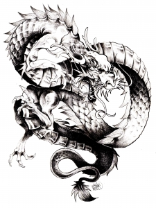 coloring-adult-dragon-chine free to print