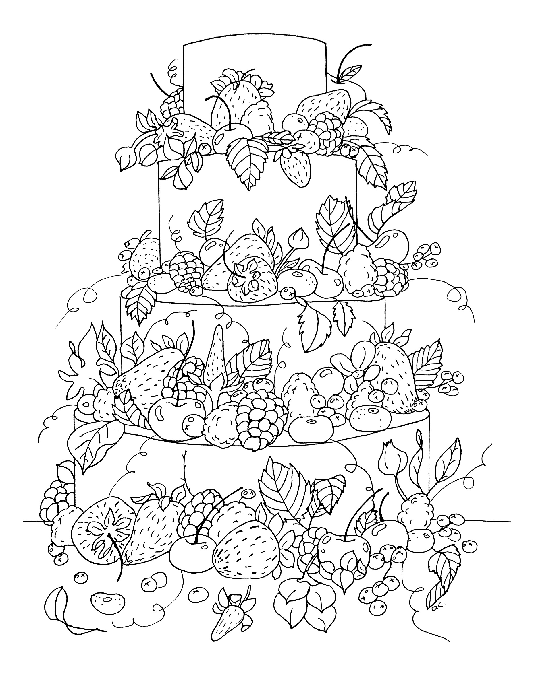 Cup cakes coloring pages for adults coloring big fruit Giant coloring books for adults