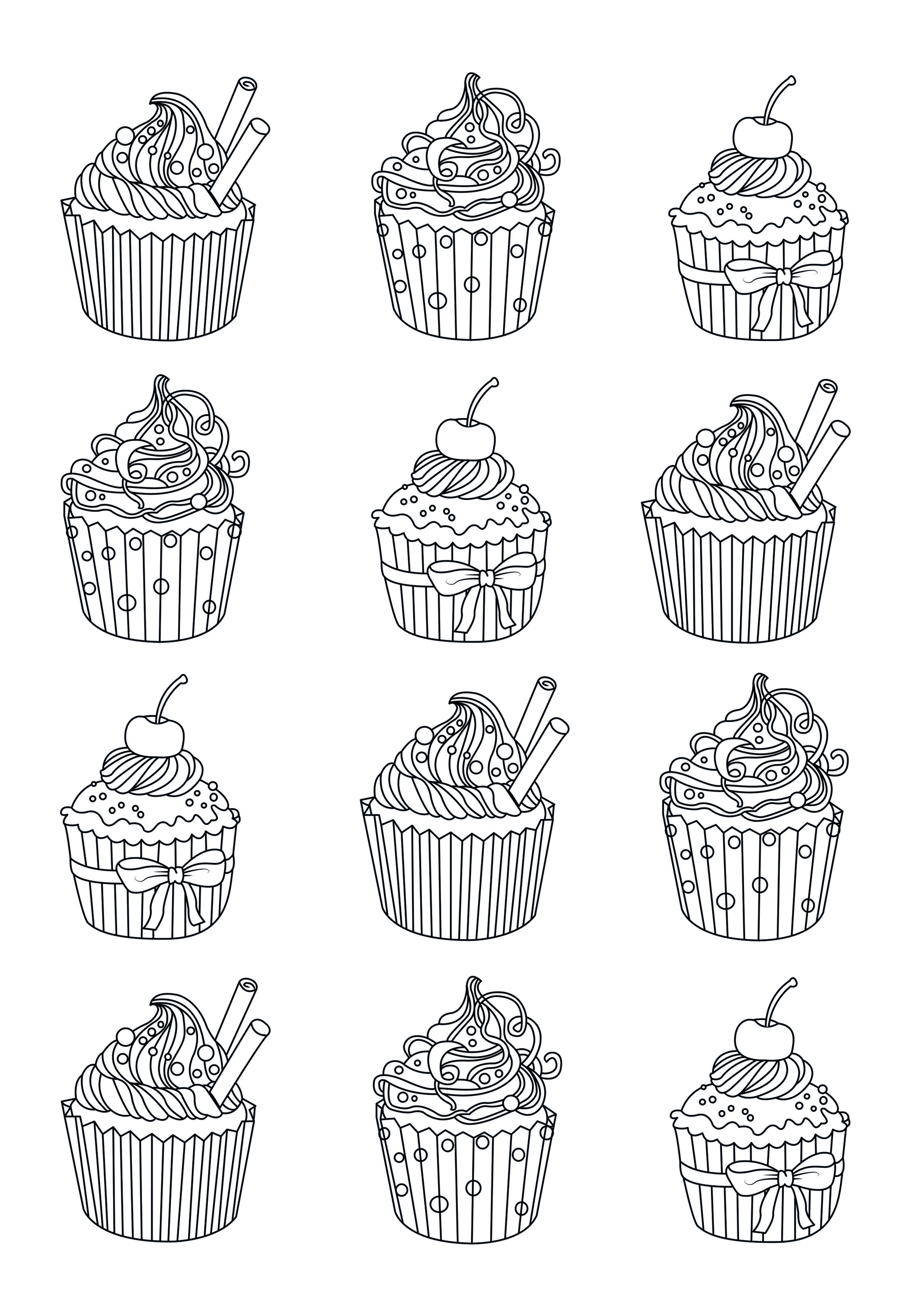 Cupcake Coloring Pages For Adults : Cup Cakes - Coloring pages for adults : coloring-page ...
