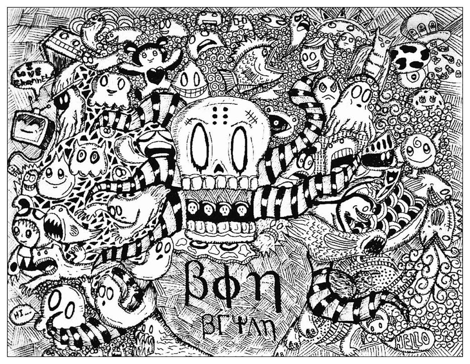 Doodling / Doodle art - Coloring pages for adults : coloring-strange-doodle-by-bon-arts
