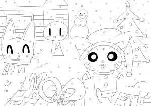 coloring-page-adult-christmas-in-cartoon-world free to print