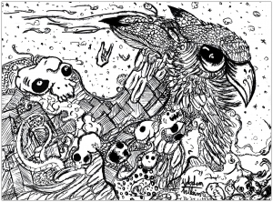 coloring-page-adults-doodle-valentin-hibou free to print
