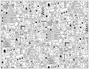 doodle-city-buildings free to print