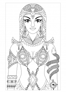 coloring-adult-egypt-cleopatra-queen-by-bimdeedee free to print
