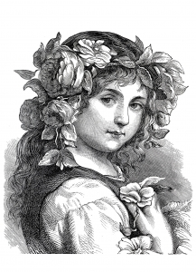 coloring-adult-engraving-flower-girl-1868 free to print