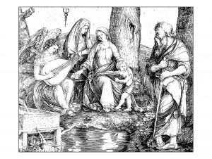 coloring-adult-engraving-jacopo-de-barbari-holy-conversation-around-1509 free to print