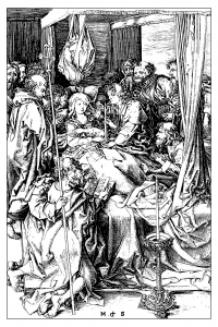 coloring-adult-engraving-martin-schongauer-death-of-the-virgin-1470 free to print