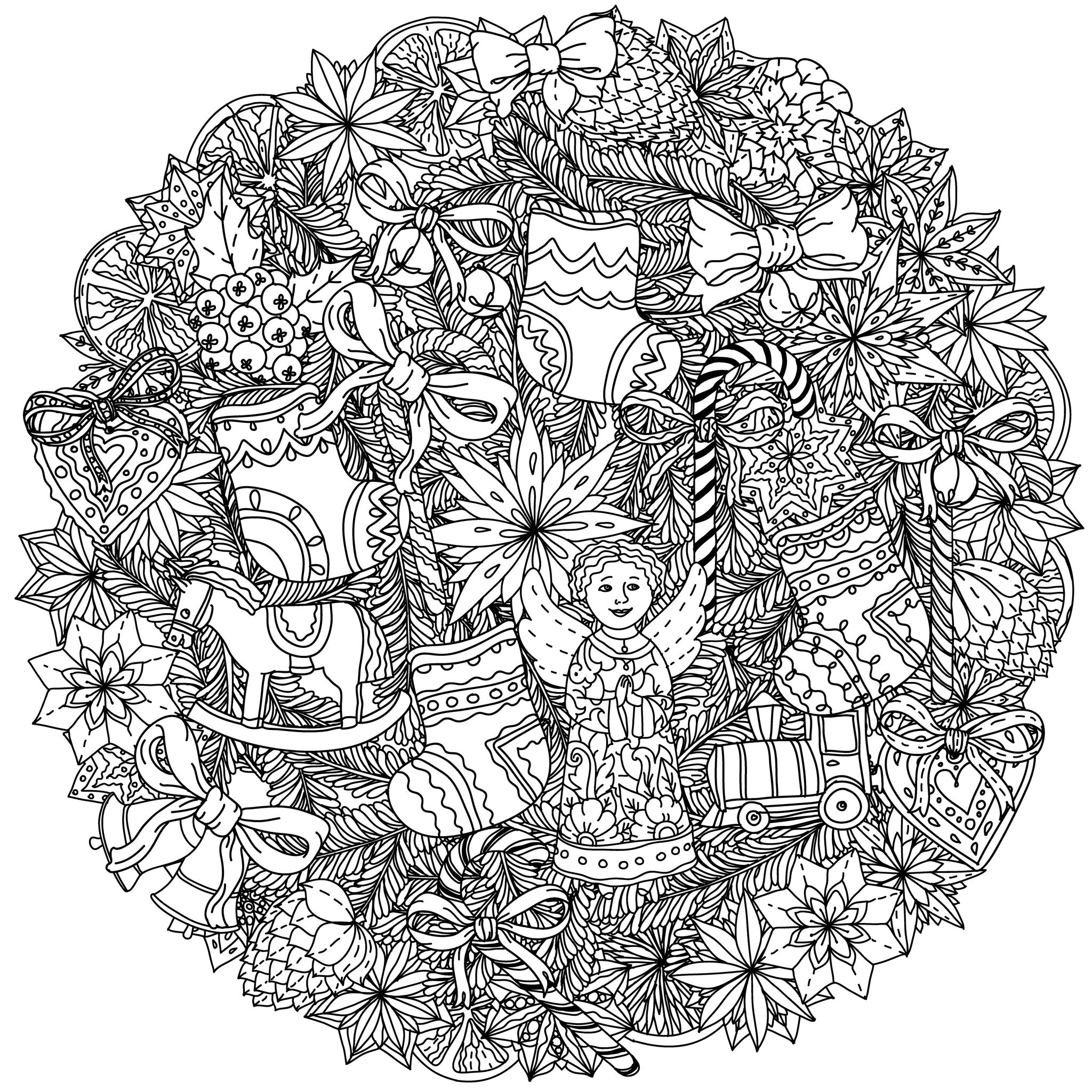 christmas adult coloring book pages - christmas coloring pages for adults coloring adult