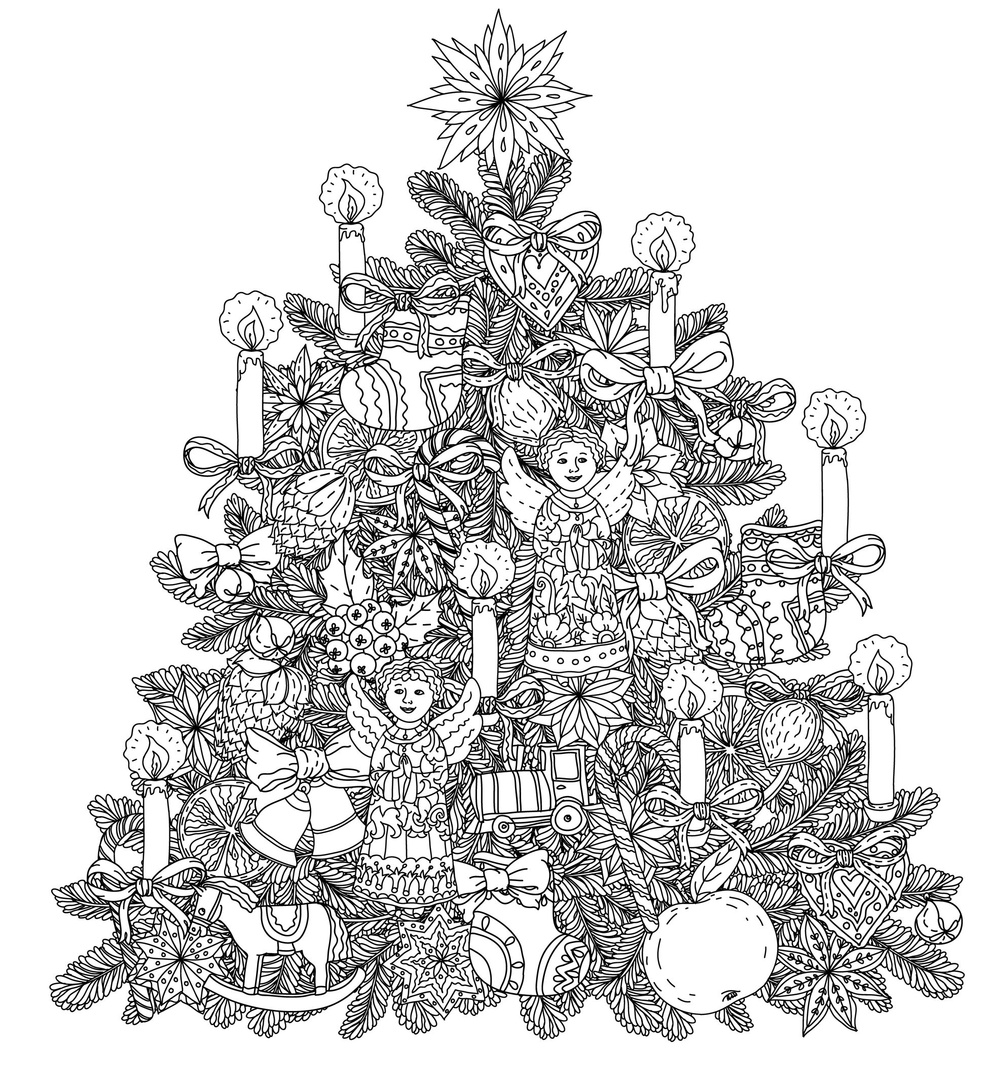 Christmas - Coloring pages for adults : coloring-adult-christmas-tree ...