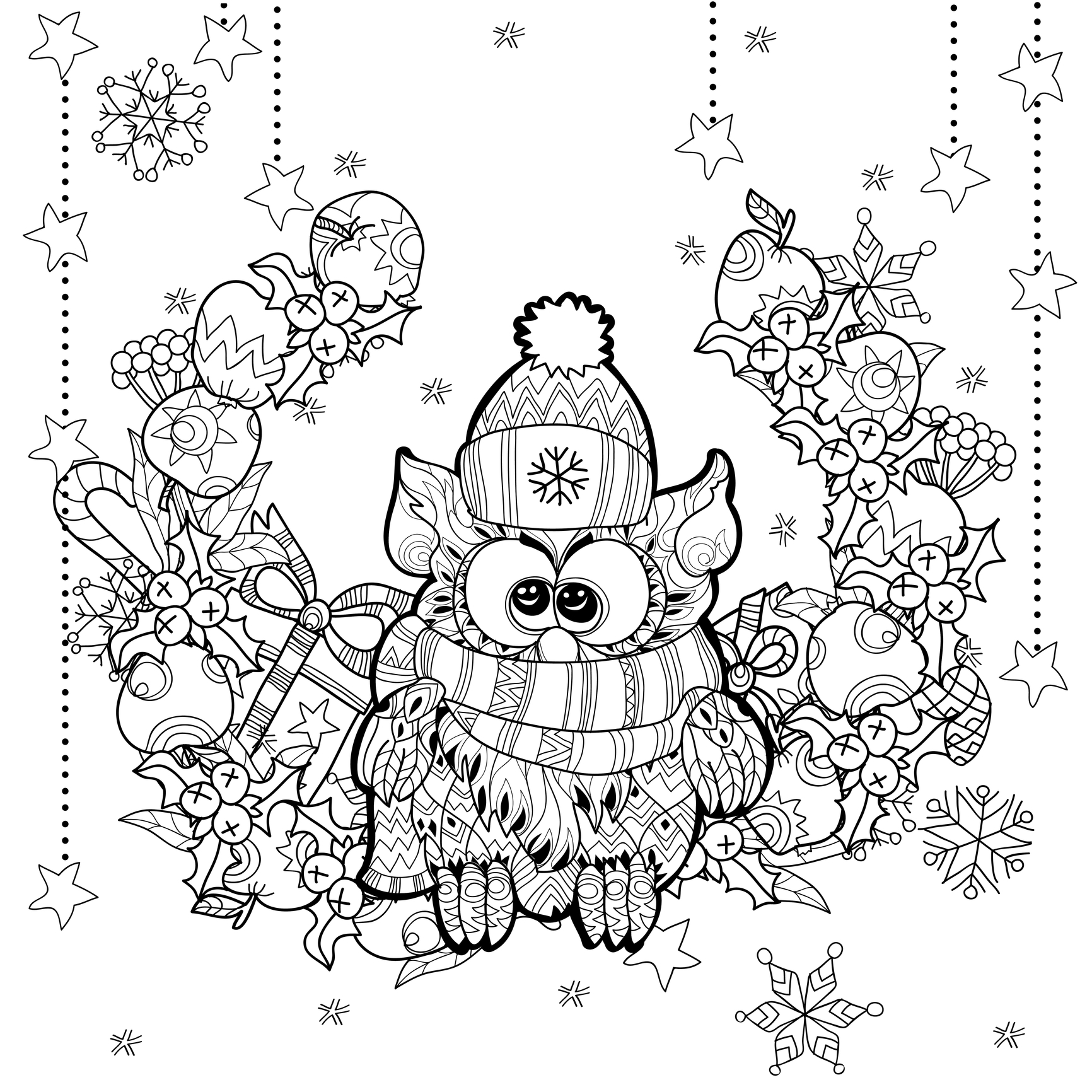 christmas coloring pages for adults coloring zentangle christmas owl by irina yazeva Owl Coloring Pages Christmas Color by Number  Christmas Owl Coloring Page