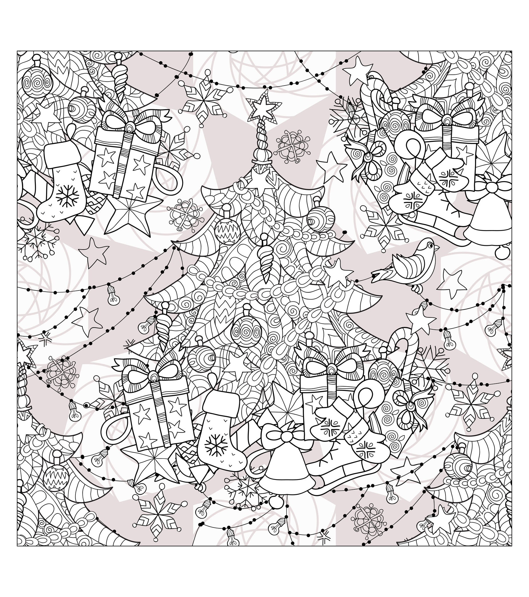 Coloring pages for adults tree - Tree With Christmas Lights Coloring Pages Christmas Treefrom The Gallery Events Irina Yazeva Source 123rf