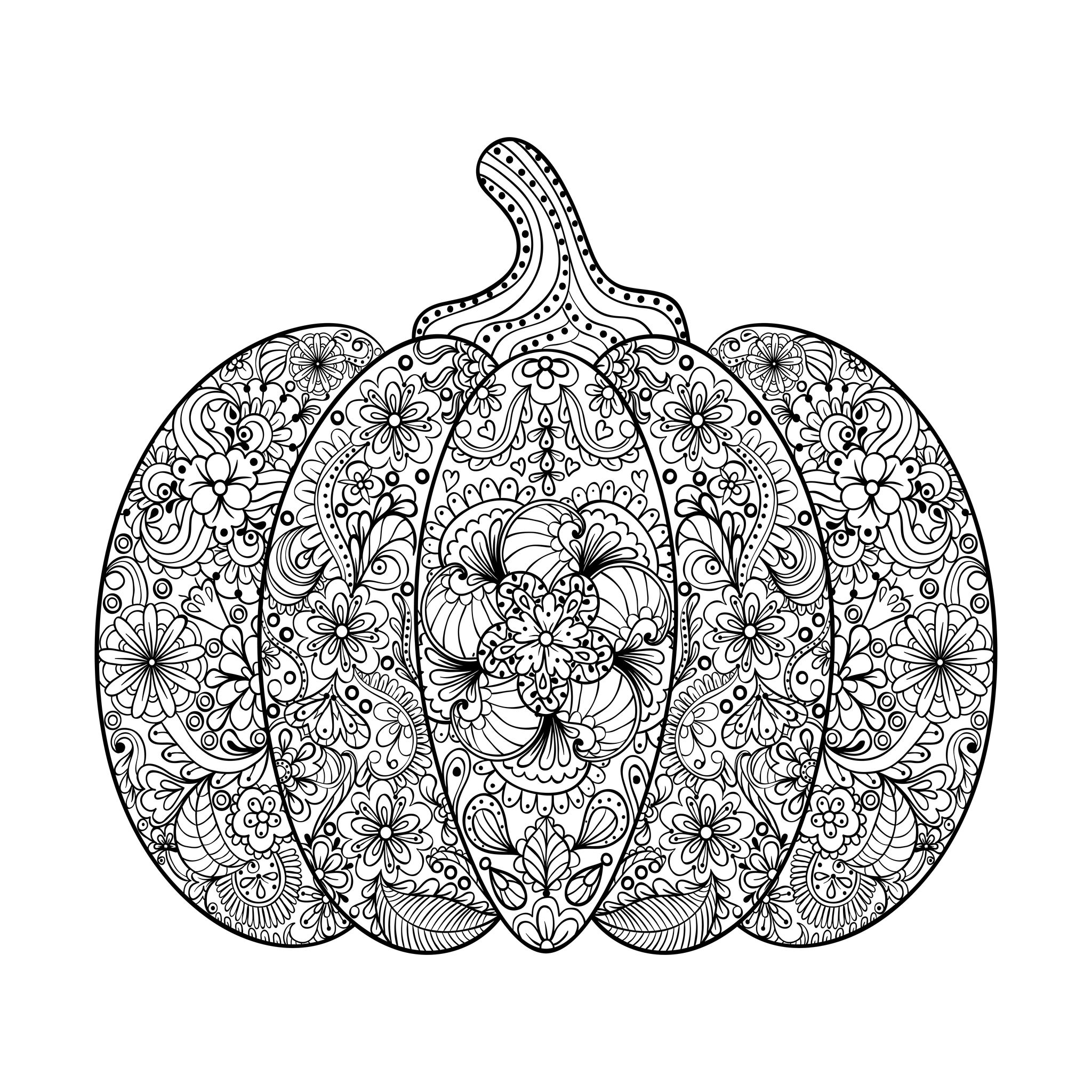 Halloween Coloring Pages For Adults Coloring halloween complex pumpkin with flowers and