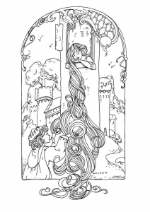 coloring-adult-rapunzel free to print