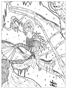 coloring-page-adults-little-mermaid free to print