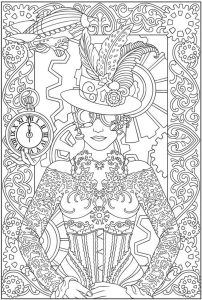 coloring-adult-clock-woman free to print