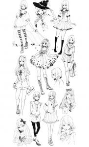 coloring-adult-fashion-manga-style free to print