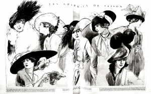 coloring-adult-gravure-mode-1915-chapeaux-femina free to print