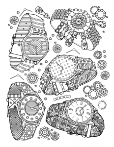 coloring-book-adult-jewelry-watches free to print
