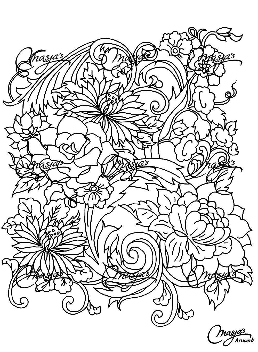 Scribbles Drawing And Coloring Book : Flowers and vegetation coloring pages for adults