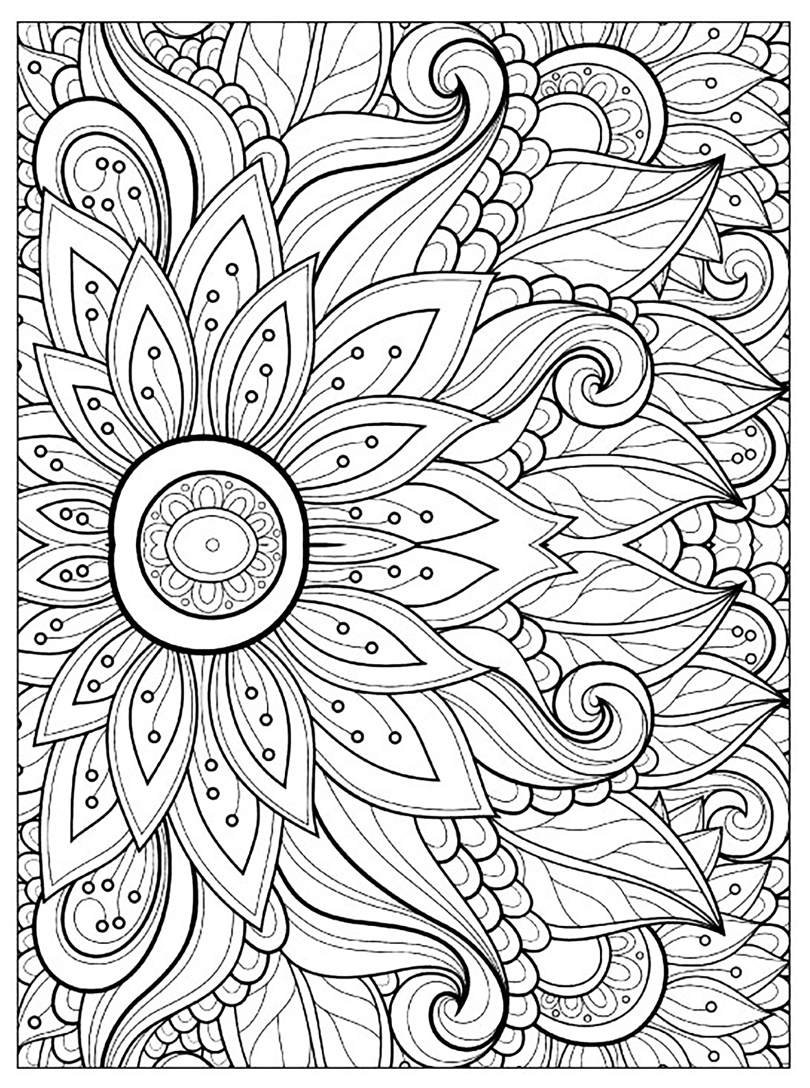 Flowers and vegetation coloring pages for adults for Flower adult coloring pages