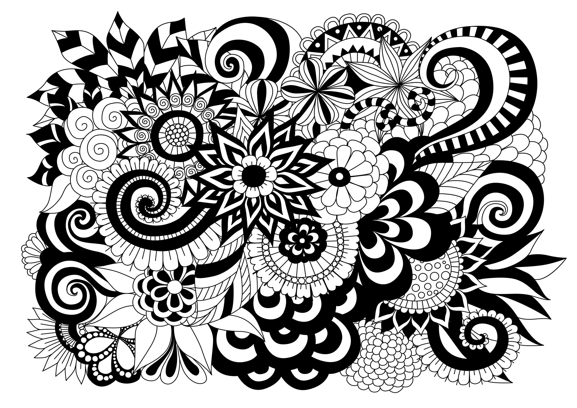 Free Complex Flower Coloring Pages, Download Free Clip Art, Free ... | 1722x2436