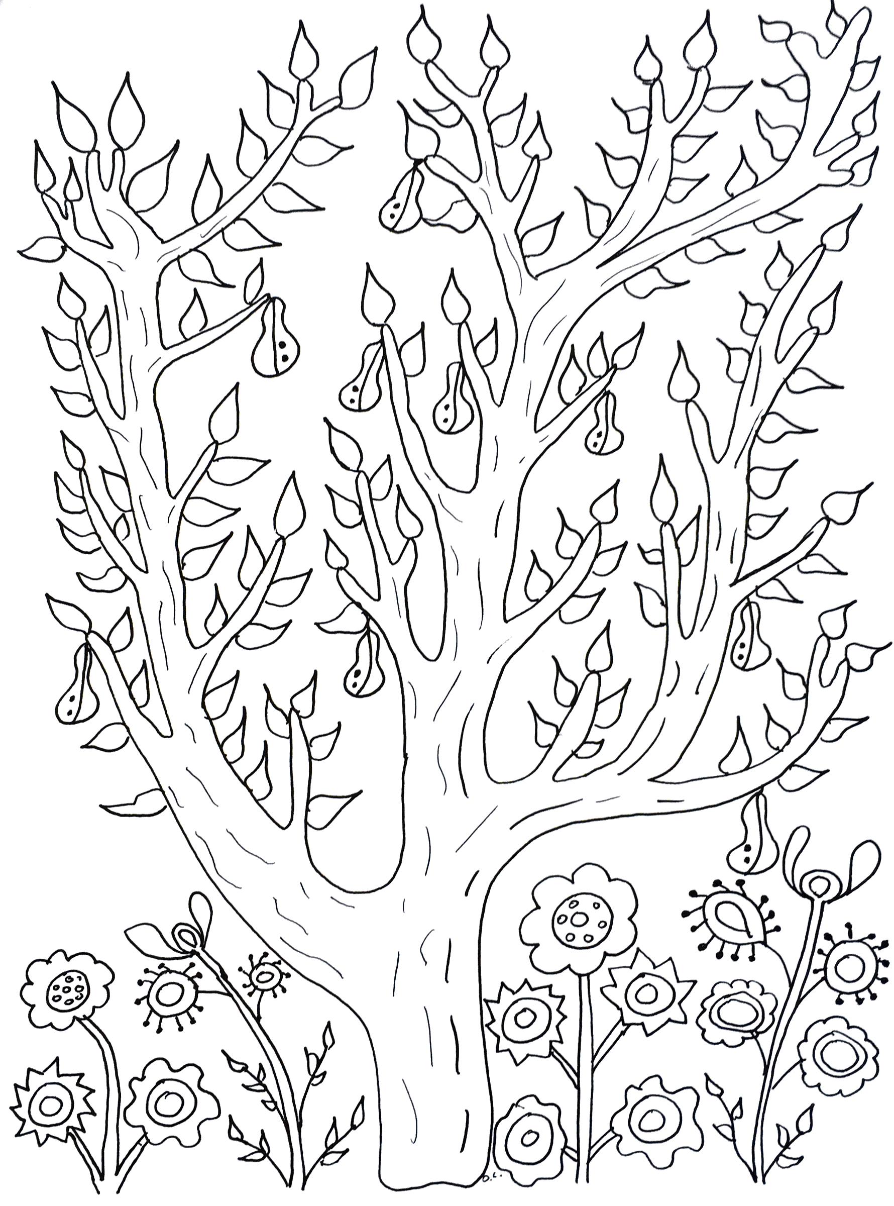 plants and trees coloring pages in cute tree with leaves pears - Tree Leaves Coloring Page