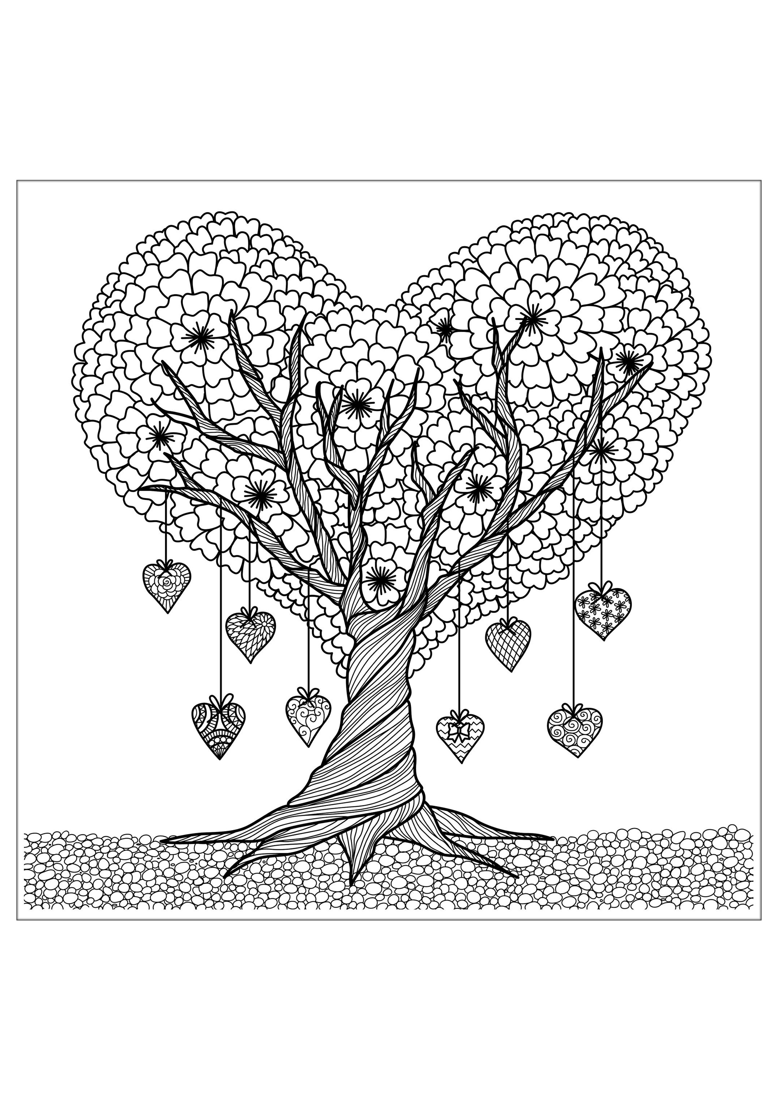 Coloring Pages For Adults Trees : Flowers and vegetation coloring pages for adults
