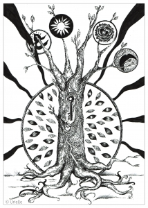 coloring-adult-the-key-in-the-tree free to print