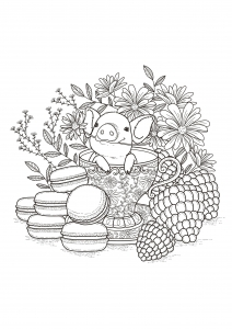 coloring-page-adults-fruits-macaroons free to print