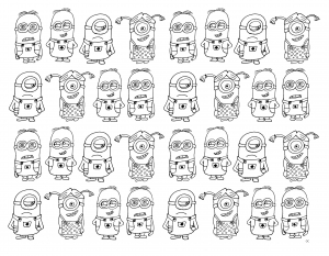coloring-very-numerous-minions free to print