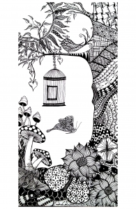 coloring-adult-animals-bird-butterfly free to print