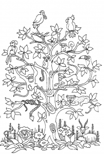 coloring-adult-difficult-tree-bird-butterflies-snake-monkey free to print