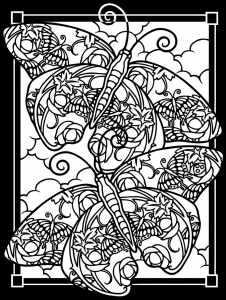 coloring-adult-difficult-two-butterflies-black-background free to print