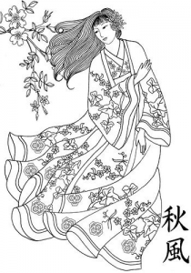 coloring-japonese-woman-traditional-dress free to print