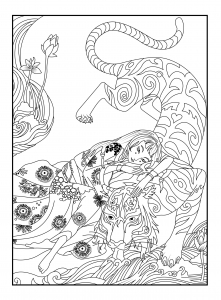coloring-page-adults-japan-tiger-celine free to print