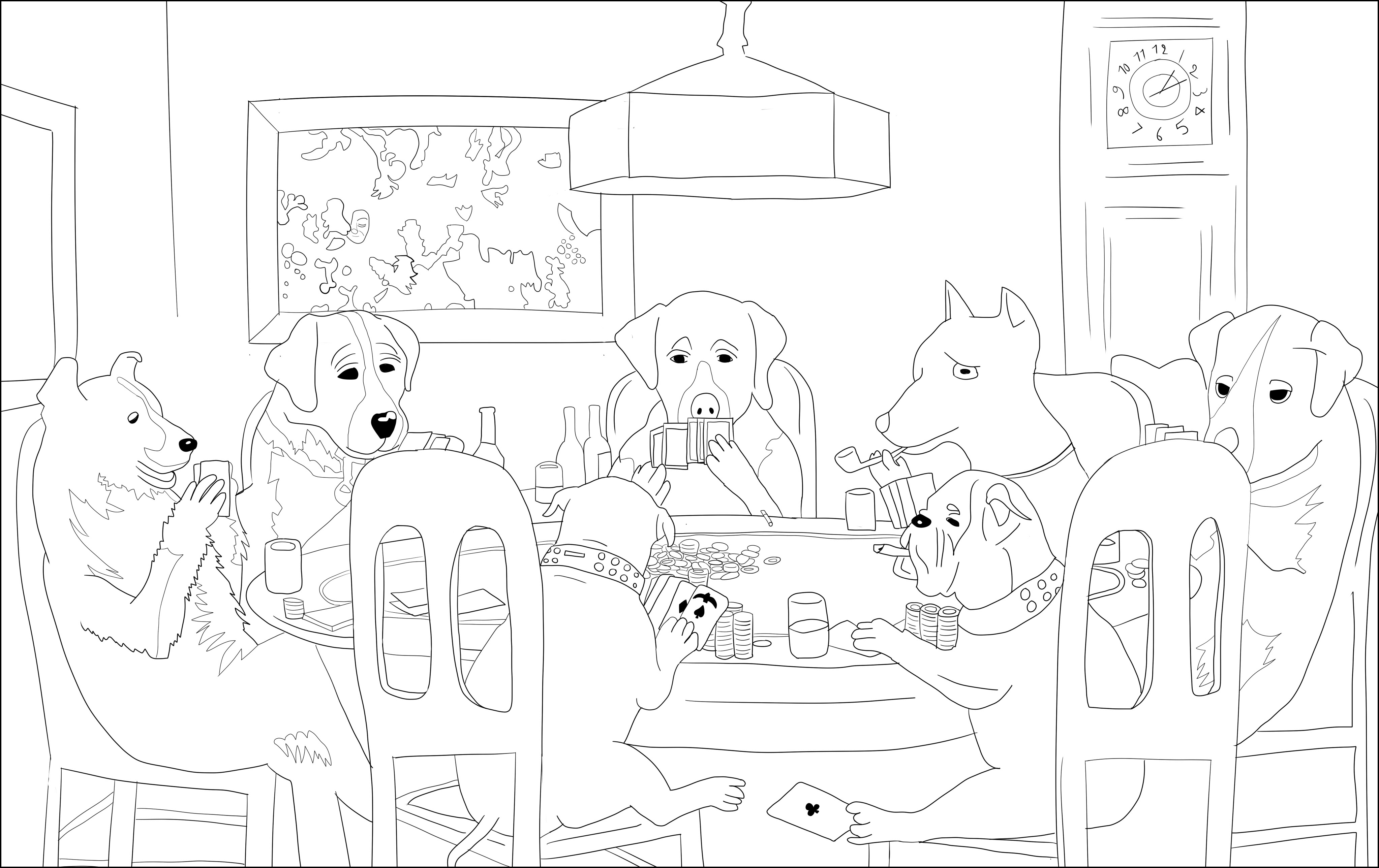 playing poker coloring pages - photo#4