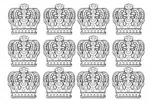 coloring-12-royal-crowns free to print