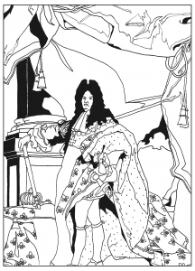 coloring-adult-louis-XIV free to print