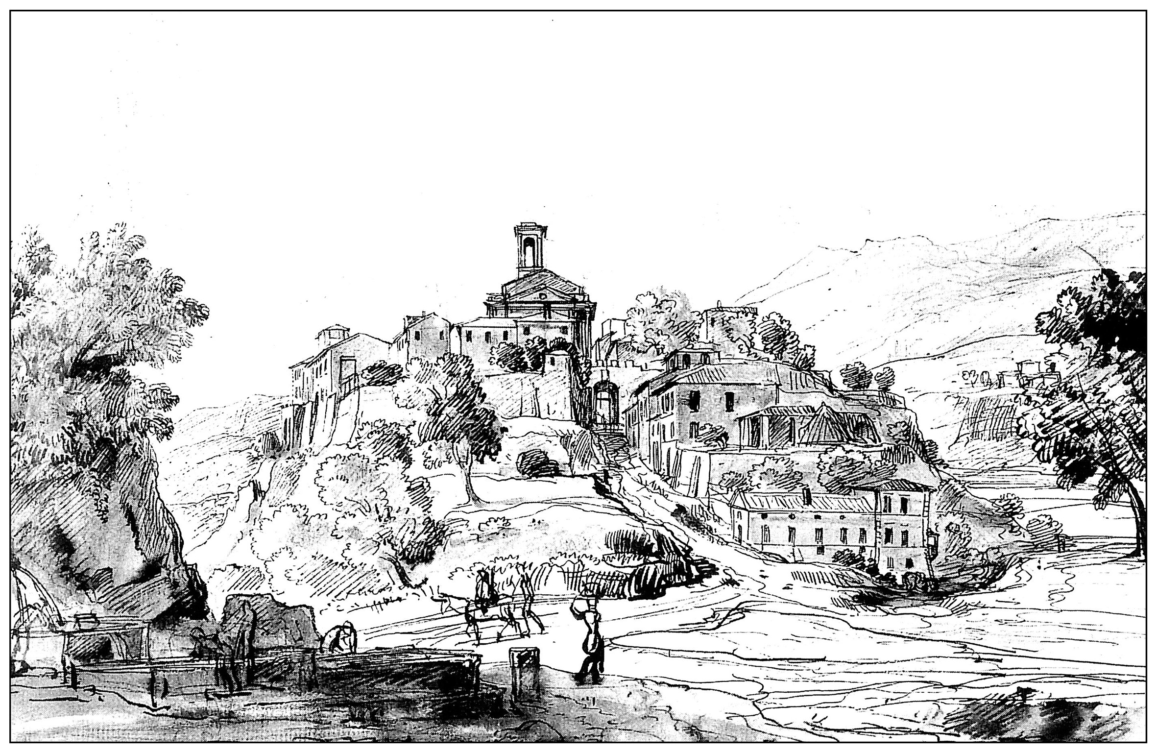 landscapes coloring pages for adults coloring adult engraving vanvitelli latium 18th century. Black Bedroom Furniture Sets. Home Design Ideas