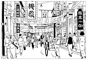 coloring-page-tintin-the-blue-lotus free to print