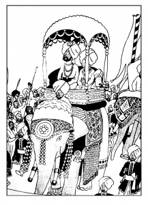 coloring-tintin-on-a-elephant free to print