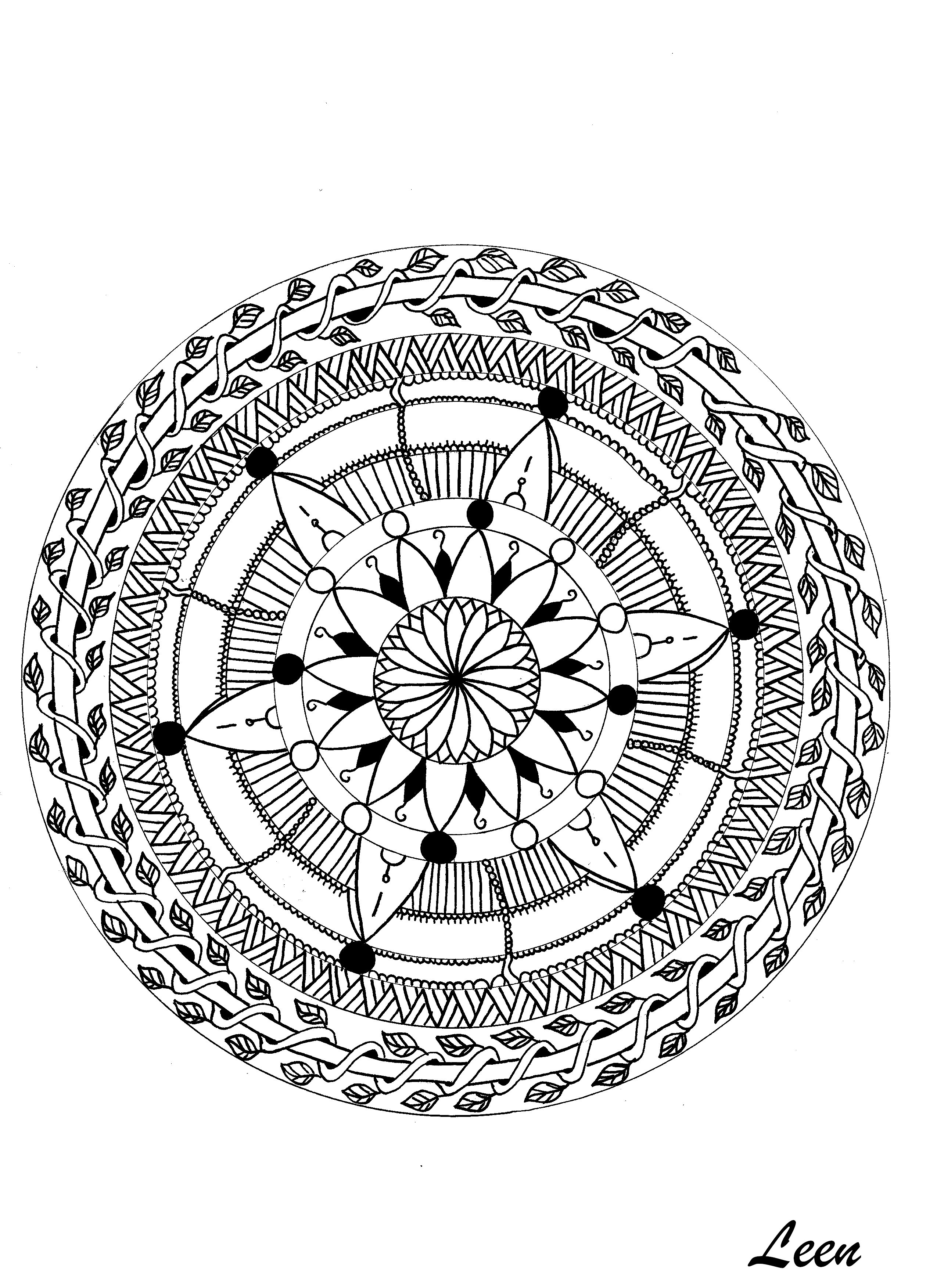 mandalas coloring pages for adults coloring adult leen. Black Bedroom Furniture Sets. Home Design Ideas